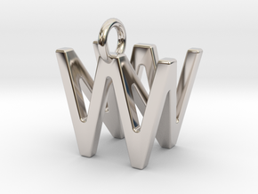 Two way letter pendant - NW WN in Rhodium Plated Brass