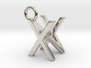 Two way letter pendant - NX XN in Rhodium Plated Brass