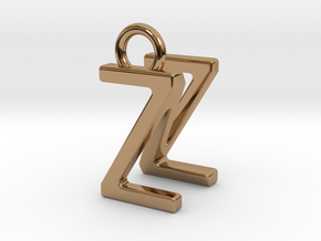 Two way letter pendant - NZ ZN in Polished Brass