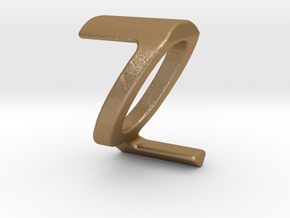 Two way letter pendant - QZ ZQ in Matte Gold Steel