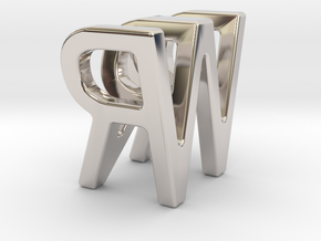 Two way letter pendant - RW WR in Rhodium Plated Brass
