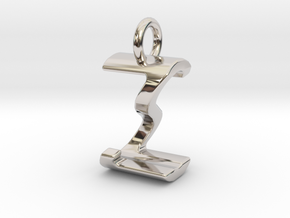 Two way letter pendant - SZ ZS in Rhodium Plated Brass
