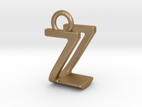 Two way letter pendant - UZ ZU in Matte Gold Steel