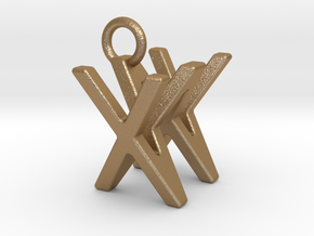 Two way letter pendant - WX XW in Matte Gold Steel