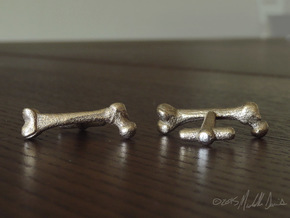 Anatomical Femur Cufflinks in Polished Bronzed Silver Steel