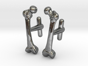 Anatomical Femur Cufflinks in Fine Detail Polished Silver