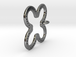 Tilted Horseshoe with luck in Fine Detail Polished Silver