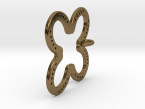 Tilted Horseshoe with luck in Polished Bronze