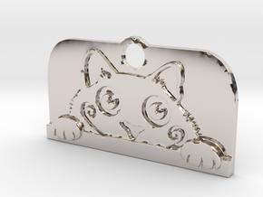 Voyeur Cat Pendant in Rhodium Plated Brass