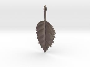 Birch Leaf Pendant in Polished Bronzed Silver Steel