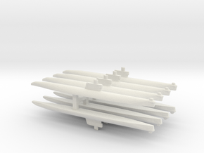 Romeo-Class/Type 033 Submarine x 8, 1/1800 in White Natural Versatile Plastic