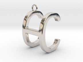 Two way letter pendant - CH HC in Rhodium Plated Brass