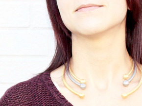VIBES - Solid Choker Size M in Polished Gold Steel