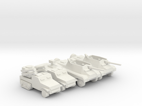 [5] Wheeled Tank Destroyer Platoon w/ SPAA in White Natural Versatile Plastic