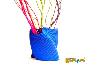 "wave vase ""Touch"" in Blue Strong & Flexible Polished"