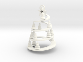 Spiral Tree Christmas Ornament in White Processed Versatile Plastic