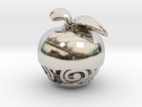 Pocket Art Apple in Rhodium Plated Brass