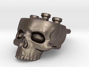 Hollow Skull Atty Pendant - Steel Now Available in Polished Bronzed Silver Steel