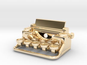 Typewriter Pendant in 14k Gold Plated Brass