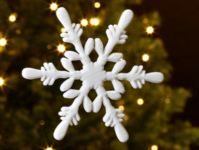 Snowflake - Christmas Tree Ornament (Bauble) in White Strong & Flexible Polished