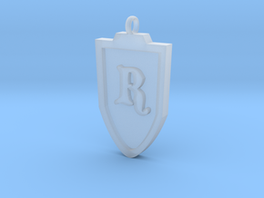 Medieval R Shield Pendant in Frosted Ultra Detail