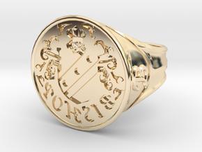 Bishop Family Signet Ring Size 12.5 in 14K Yellow Gold