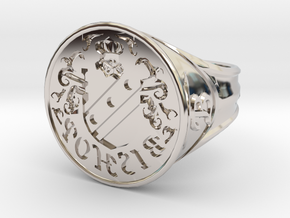 Bishop Family Signet Ring Size 12.5 in Rhodium Plated Brass