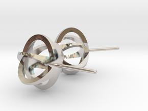 3D STAR GLITZ STUD EARRINGS in Rhodium Plated Brass