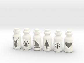 Small Bottles in White Processed Versatile Plastic