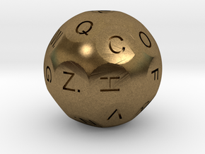 D26 Alphabetical Sphere Dice for Impact! Miniature in Natural Bronze