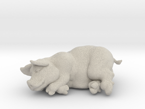 "SLEEPING PIG 2 "" tall in Natural Sandstone"