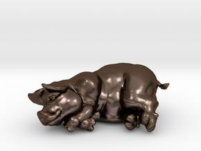 "SLEEPING PIG 2 "" tall in Polished Bronze Steel"
