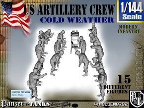 1-144 US Artillery Crew Cold Weather in Smooth Fine Detail Plastic