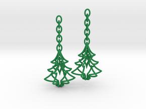 Christmas Tree Star Earrings in Green Processed Versatile Plastic
