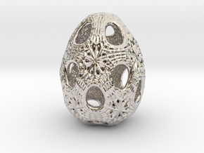Christmas egg 1 in Rhodium Plated Brass