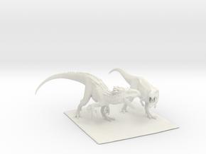 Dinosaur Indy Vs T rex 25 cm.  in White Natural Versatile Plastic