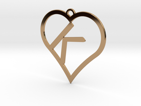 K-Heart Necklace in Polished Brass