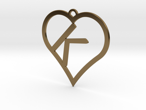 K-Heart Necklace in Polished Bronze