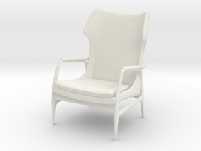 1:24 Mid-Century Lounge Chair in White Natural Versatile Plastic