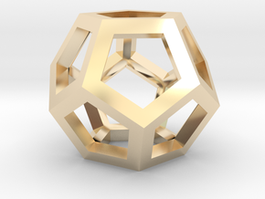 Dodecahedra, 1 Inch, 5 sided sections - smpl matrl in 14k Gold Plated Brass