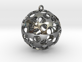 Hadron Ball - 5cm in Fine Detail Polished Silver