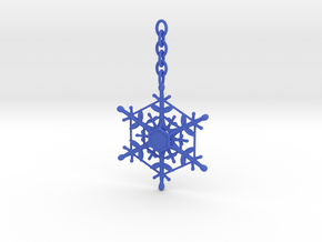 Snowflake Custom Initial Ornament in Blue Strong & Flexible Polished