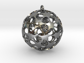 Hadron Ball - 3.8cm in Fine Detail Polished Silver