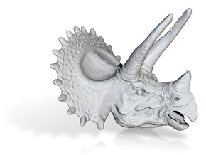 Triceratops Pendant 50mm in Smooth Fine Detail Plastic