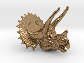Triceratops Pendant 50mm in Natural Brass