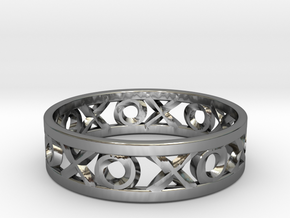Size 12 Xoxo Ring in Fine Detail Polished Silver