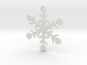 Snowflake Earring/Pendant in White Natural Versatile Plastic
