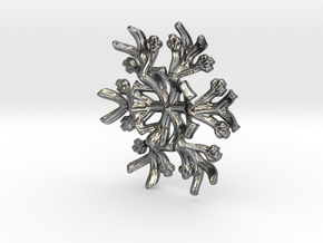 Snowflake Candle Stand 1 - d=60mm in Fine Detail Polished Silver