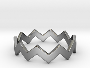 Zig Zag Wave Stackable Ring Size 7 in Fine Detail Polished Silver
