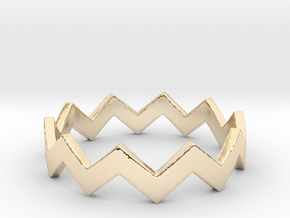 Zig Zag Wave Stackable Ring Size 7 in 14k Gold Plated Brass